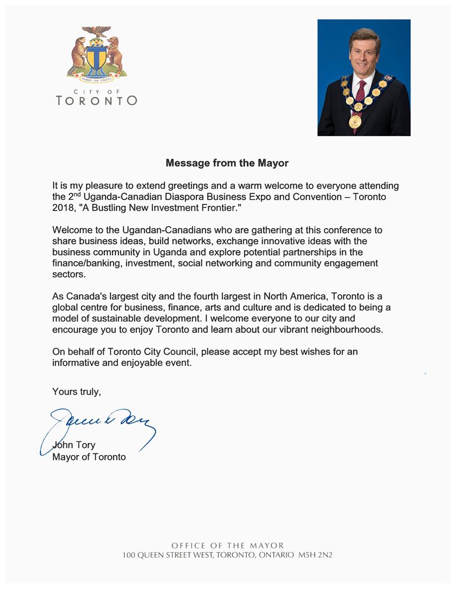 John Tory, Toronto Mayor's Message – Uganda Canada Convention